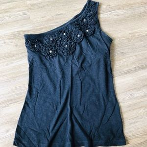 INC ONE SHOULDER NAVY TOP W/RHINESTONES SIZE SMALL